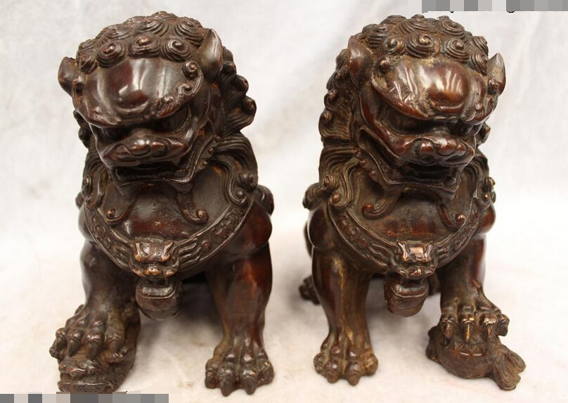 """R0720 Details about 7""""Chinese Purple Bronze carved excellent lifelike Lucky Foo Dogs Lion Statue"""