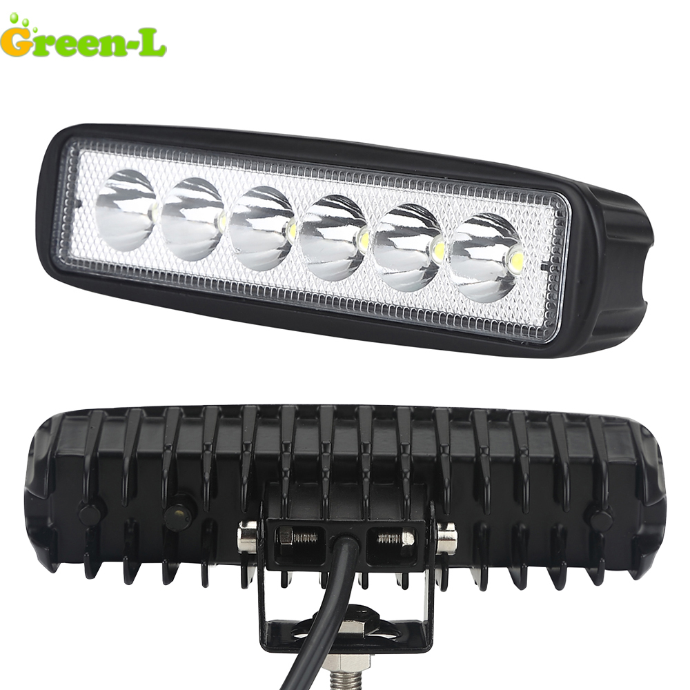 Green-L Led Bar offroad 6 inch 18W for cree chip LED spotlight for cars 4x4 Offroad led worklight bar LED Spotlights for car 4x4 car led spotlight cree automotive short animated film spotlights roof lighting roof lamp dc10 40v
