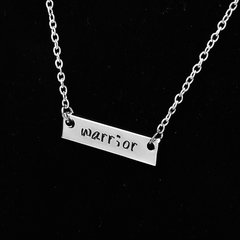 Warrior Word pendant necklace good friend Silver Europe alloy jewelry sweater chain 3.1*0.8CM 3pcs