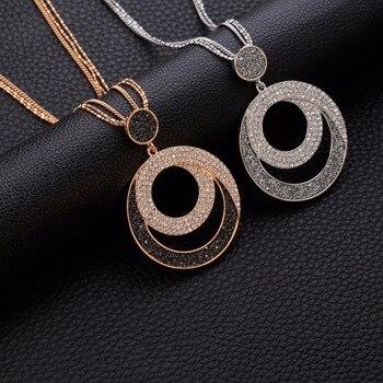 2870dd6e1006 Vintage mujer declaración collar geométrico gran círculo colgante de cristal  collares largo suéter Cadena de joyería de moda regalo para chica