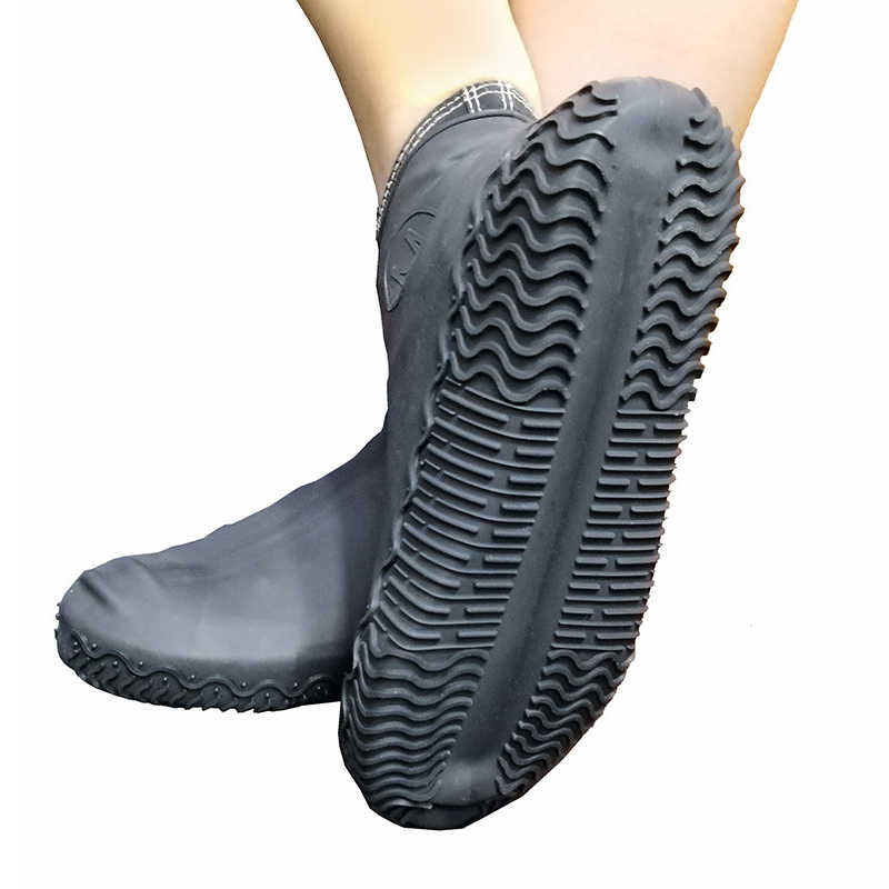 1pair Silicone Anti-slip Waterproof Shoe Cover Reusable Rain Boot Motorcycle Bike Overshoe for Men Women