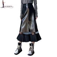 Leather Skirt Women 2019 Spring Autumn New Long Stitching Perspective Mesh Skirt Temperament Women Pu Leather Black Skirt TTT046(China)