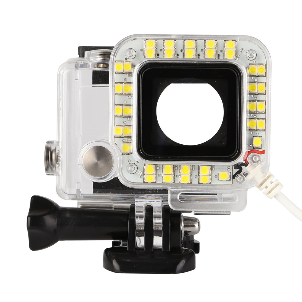 USB 20 LED Fill Lens Ring Flash Light Housing Case Lamp for GoPro Hero 4/3+ high precision cnc aluminum alloy lens strap ring for gopro hero 3 red