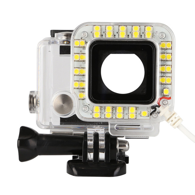 USB 20 LED ملء عدسة حلقة ضوء فلاش الإسكان مصباح ل GoPro بطل 4/3 +