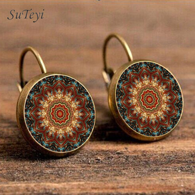 SUTEYI Vintage Mandala Glass Dome Art Earrings Henna Yoga Crystal Earring Om Symbol Buddhism Zen Earrings For Women Jewellery