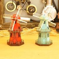 Classic iron windmill model home decoration Retro Handmade windmill metal crafts gifts