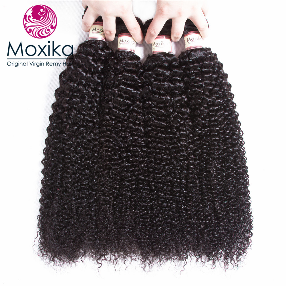 Moxika Hair Mongolian Kinky Curly Hair 4 Bundles Remy Human Hair Weave Extensions Natural Black Free