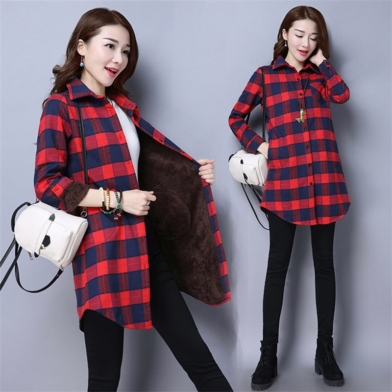 43a0ae3bed Winter Velvet Thick Warm Blouses Flannel Female Checked Women Cotton Plaid  Women's Blouse Feminine Shirts loose