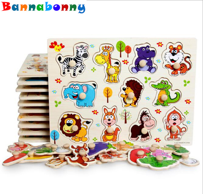 30cm Kid Early educational toys baby hand grasp wooden puzzle toy alphabet and digit learning education child wood jigsaw toy hand grasp knob pegged puzzle wooden quality animals characters letter cognitive board children recognization toys