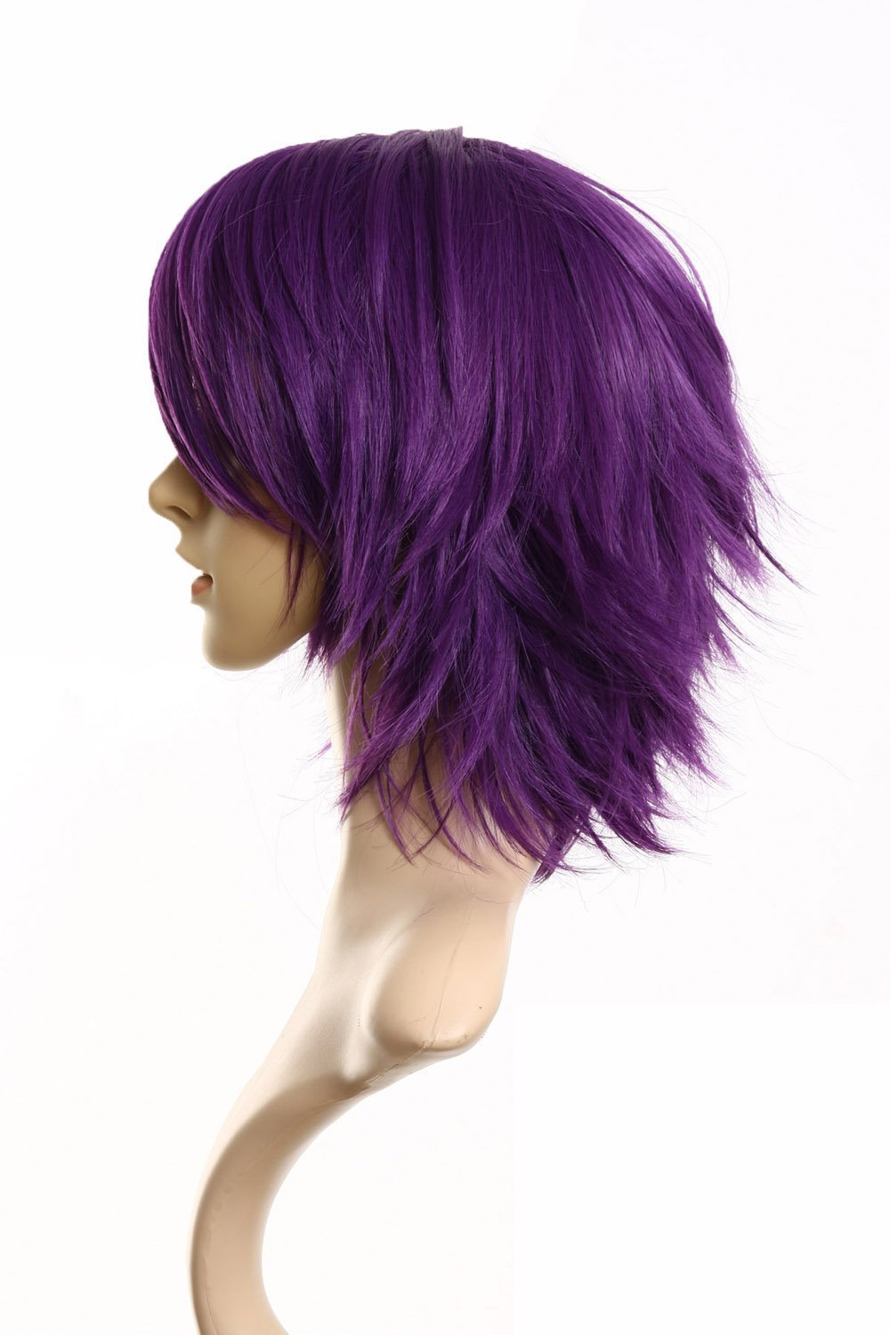 Fashion Men Short Straight Hair Purple Male Cosplay Wig Party Full