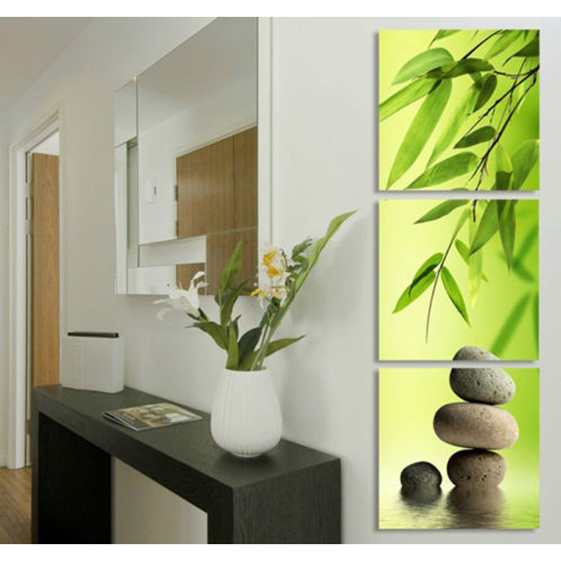 3 Panel modern wall art Bamboo and stone wall pictures for living