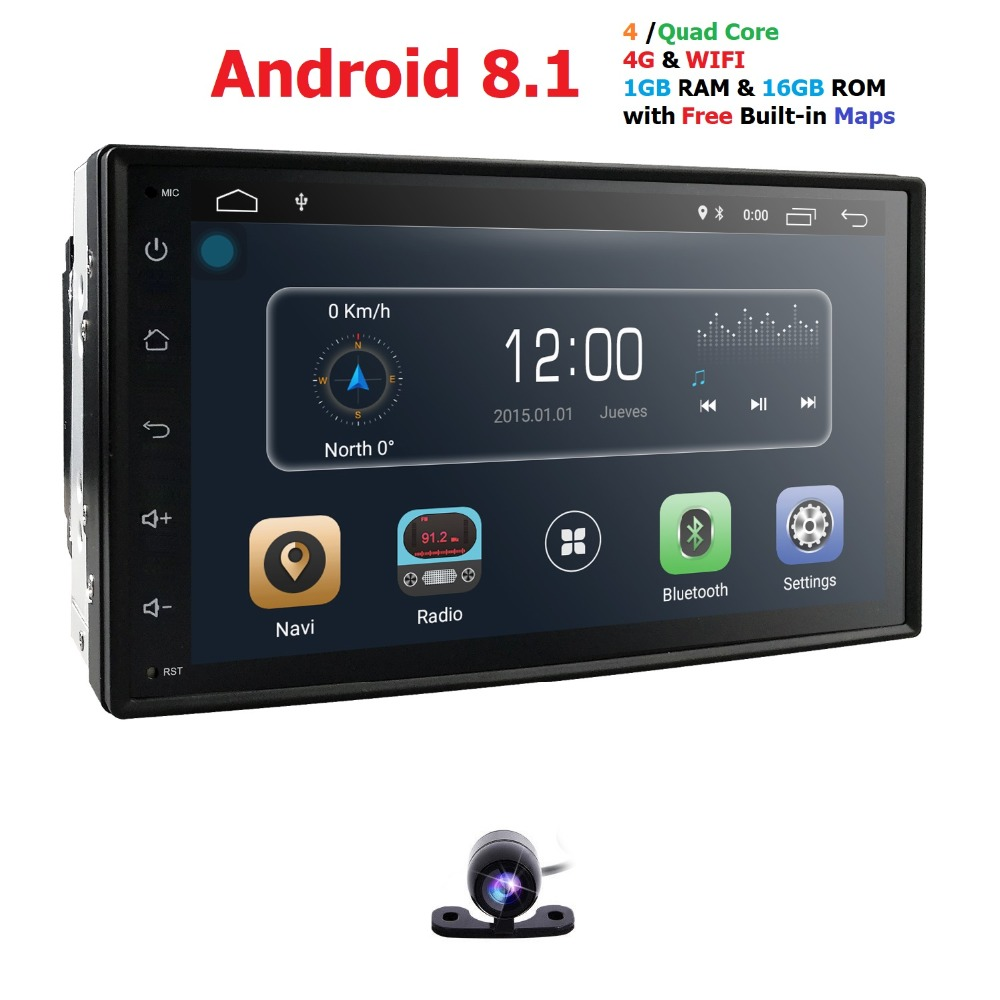Quad Core autoradio 2 din android 8.1 radio gps navigation car dvd player 2din steering wheel Rear View Camera WIFI 4G 1G RAM BT