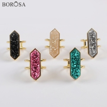 BOROSA 5Pcs Hexagon Gold Bezel Natural Agates Titanium Rainbow Druzy Open Ring Electroplated Jewelry ZG0425