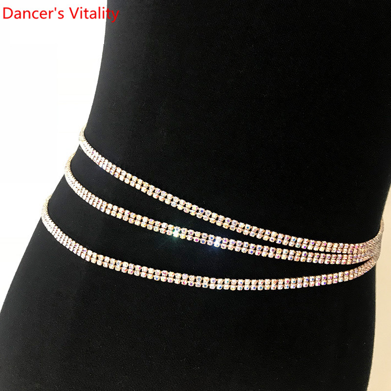 Women Girls 2 Layer Diamond  Hip Scarf Waist Belt Belly Dance Belt Metal Chain Jewelry Party Dangle