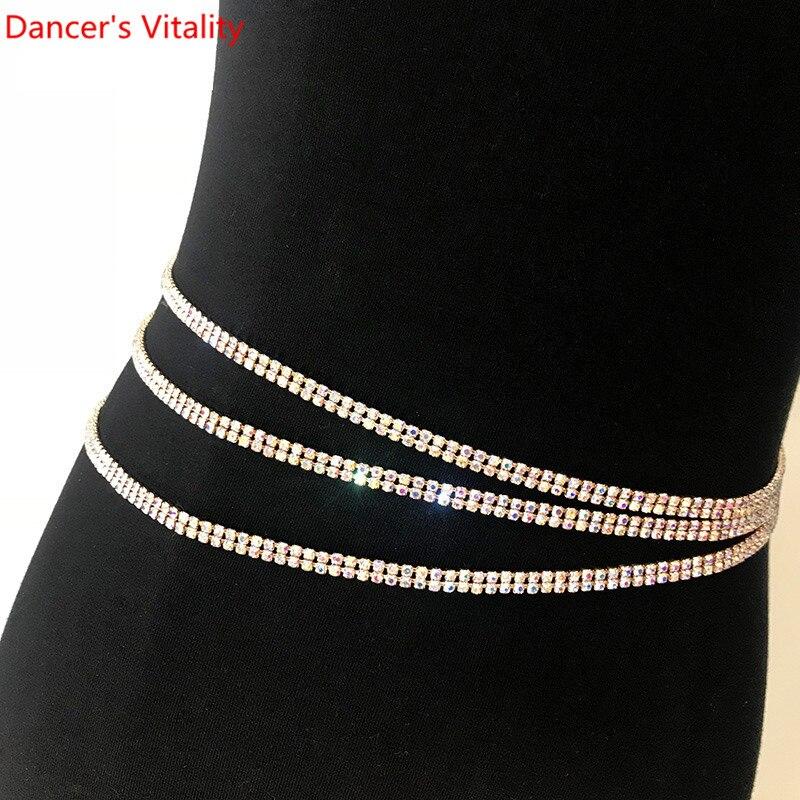 Women Girls 2 Layer Diamond  Hip Scarf Waist Belt Belly Dance Belt Metal Chain Jewelry Party Dangle