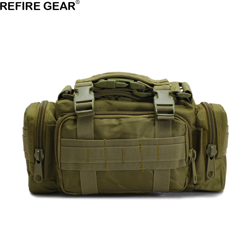 Refire Gear Outdoor Waist Bag Hiking Camouflage Nylon Waist Pack Molle Pouch Belt Loops Bags Mens Shoulder Bag Climbing Gear