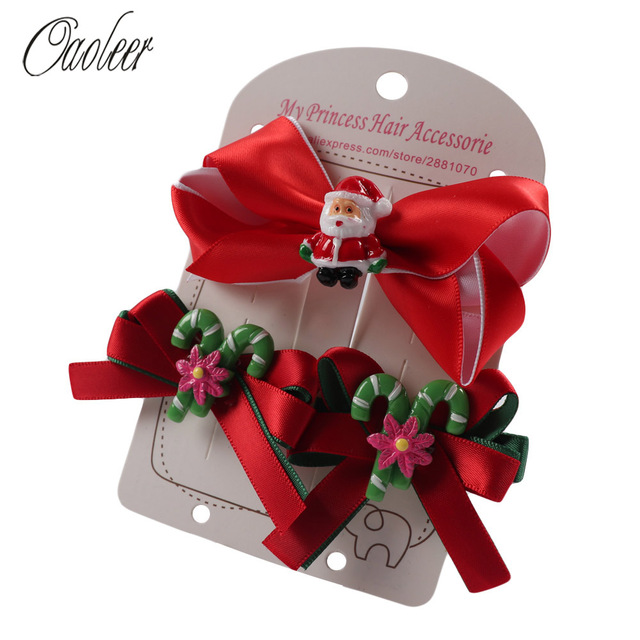9ac6b8f91ddd1 Cute Christmas Hair Bows For Girl Snow Santa Christmas Tree Hairpin  Boutique Hair Clip Kids Christmas