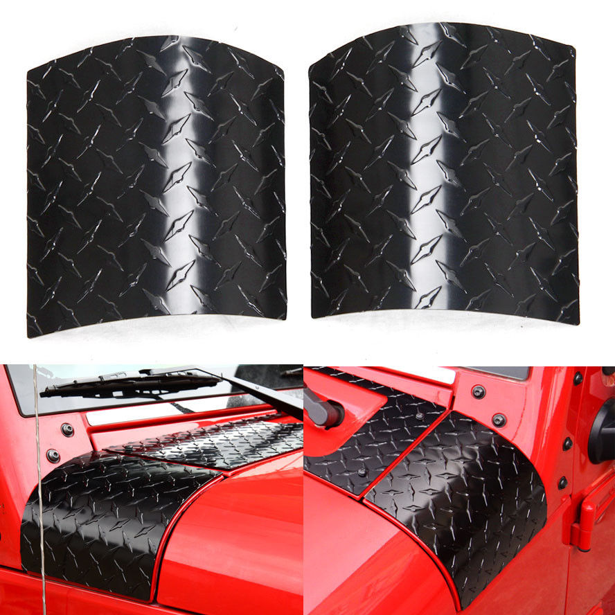 BBQ@FUKA 2x Black Aluminum Car Body Armor Side Cowl Cover Protector Styling Sticker Fit for Jeep Wrangler JK 2007-2015 Car decal
