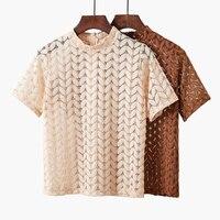 Gkfnmt-camisa de encaje calado para mujer, Tops de manga corta para mujer, blusa Vintage Floral, ropa para mujer 2019