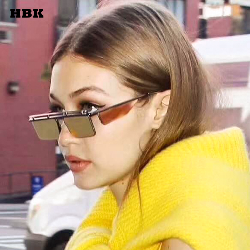 3b93509cafc2 HBK 2018 Small Rimless Square Sunglasses Luxury Top Sunglasses For Women s  Fashion Metal Frame Clear Lens
