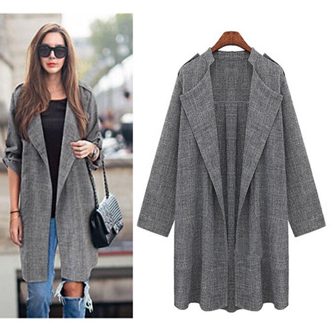2018 New Women Long Coat Breasted Gray Suit Loose Blazer Jacket Linen Suit Womens Plus Size Ladies Outerwear Women Suits Work
