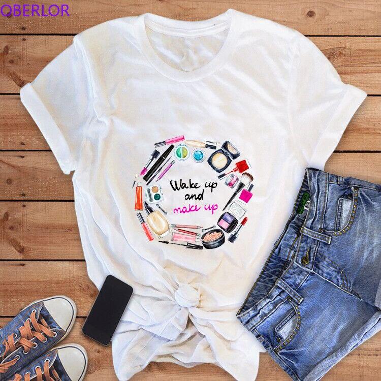 2019 Wake Up and Make Up Letter T-shirts for Women Harajuku Kawaii Streetwear Makeup Tools Print Vogue O-Neck T Shirt Clothing