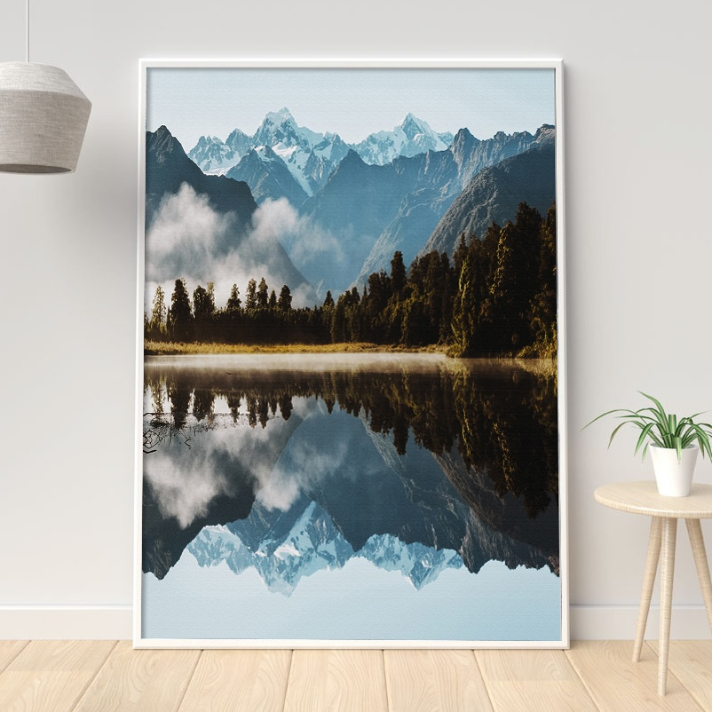 Mountain Lake Reflection Forest Wall Art Canvas Painting