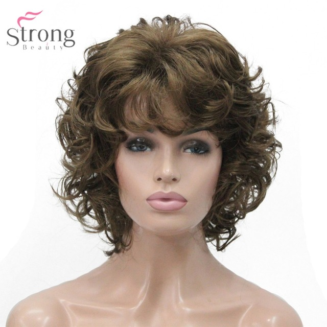 StrongBeauty Women s Synthetic Wig Kanekalon Natural Hair Blonde Black  Hairpiece Short Curly Wigs d5fbc4640