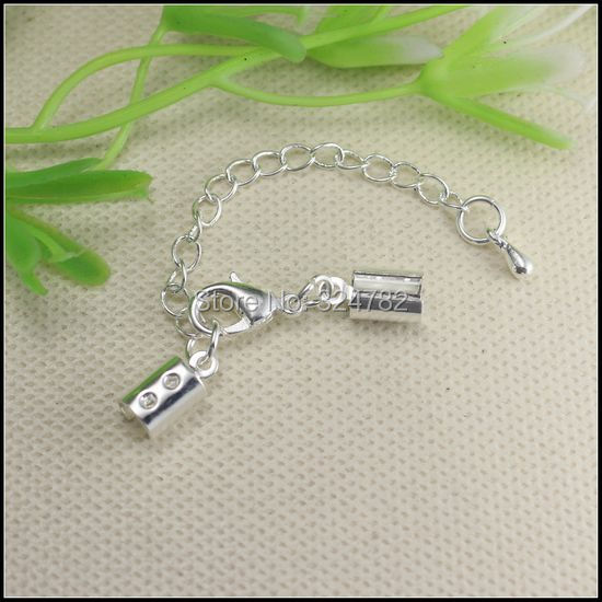 50set silver plated adjustable end caps with lobster clasp for Liner diametre 4 50