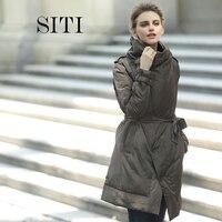 2018 женские теплые длинные подарок пальто модель Куртка парка на молнии Новая модная зимняя верхняя одежда костюм воротник новый размер плю