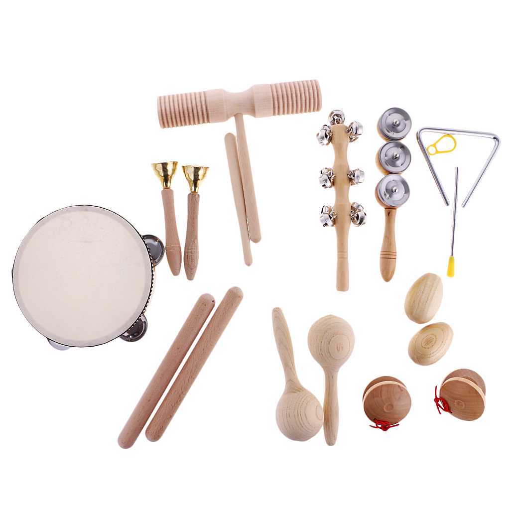 Hand Percussion Set Shaker Bell Sand Maraca Eggs Hammer Shaker Sound Guiro Rhythm Stick Wooden Eudcational Toys