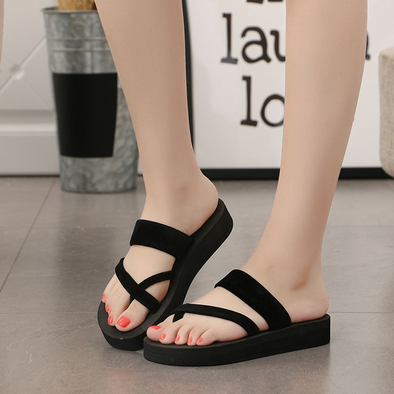 2018 Ladies Summer Women Outdoor Platform Shoes pantuflas Beach Casual Wedges Flip Flops High Flat Soft Slippers zapatos mujer women summer slippers striped pattern indoor outdoor beach flip flops shoes women ladies wedges platform flip flops zapatos