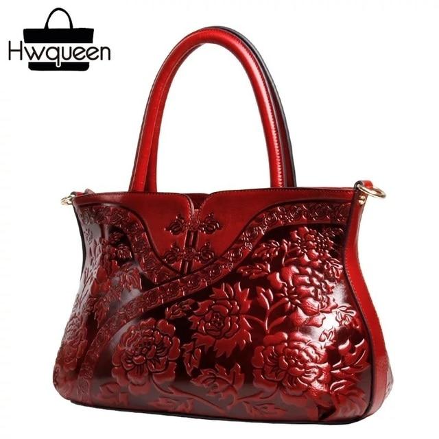 Chinese Style Red Cheongsam Designer Lady Flower Totes Genuine Leather Woman Single Cross Shoulder Bag Female Embossed Handbag