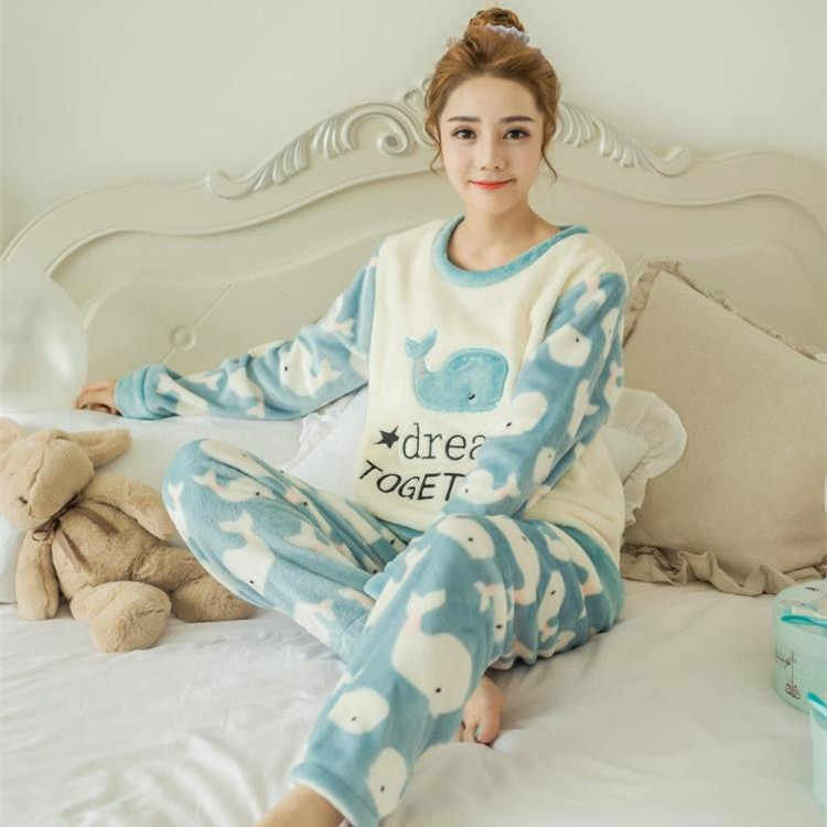... Foply Flannel Winter Women Pajamas Printing Cartoon Dog Cute with Long  Sleeve Pant O Neck Large ... 39937cdd0