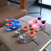 2018 European Flash LED Baby Sneakers Lace Up High Quality Lovely Baby Casual Shoes Coo Girls