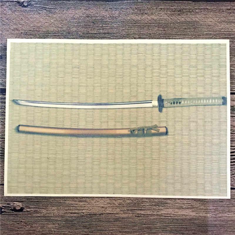 """رائجة البيع RML-012 ورق الكرافت الرجعية """"الكلاسيكية سيف ساموراي"""" ملصقات جدار ديكور المنزل غرفة المعيشة ملصق ملصق للأطفال 42x30 سم"""