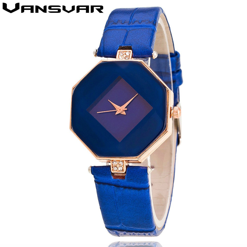 VANSVAR Brand Leather Quartz-watch Luxury Women Rhinestone Watch Fashion Dress Wristwatches Reloj Mujer Relogio Feminino V07 vansvar brand fashion leather anchor watches casual women wristwatches luxury quartz watch relogio feminino gift clock