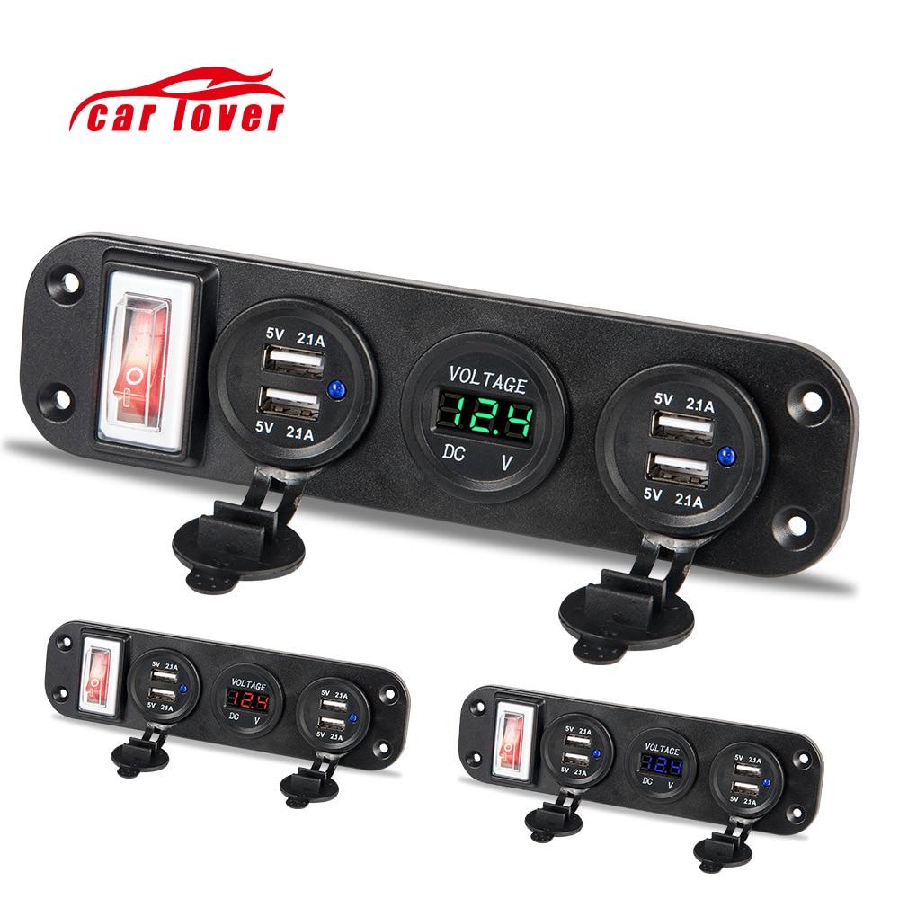 12 V-30 V quatre USB Moto allume-cigare prise séparateur Moto Plug voiture chargeur adaptateur voltmètre numérique interrupteur d'alimentation