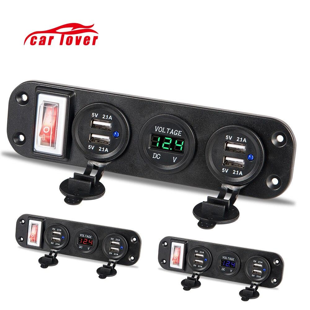 12V-30V Four USB Motorcycle Cigarette Lighter Socket Splitter Moto Plug Car Charger Adapter Digital Voltmeter Power Switch