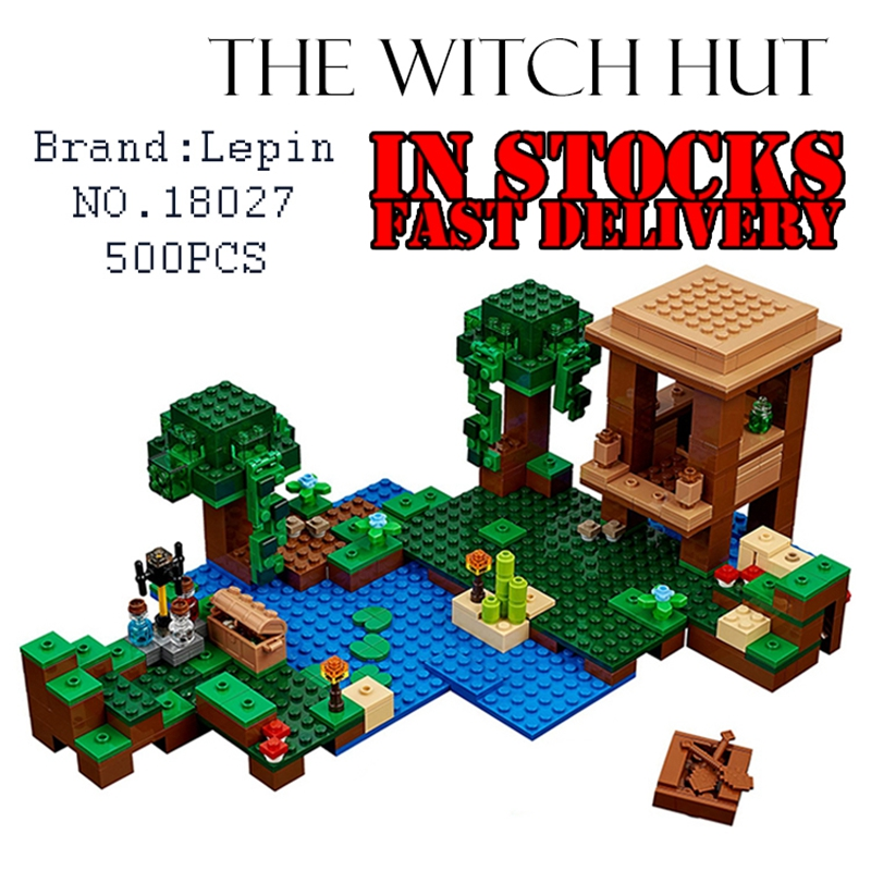 New Lepin 500pcs My World Minecraft The Witch Hut anime action figures Building Blocks Bricks DIY