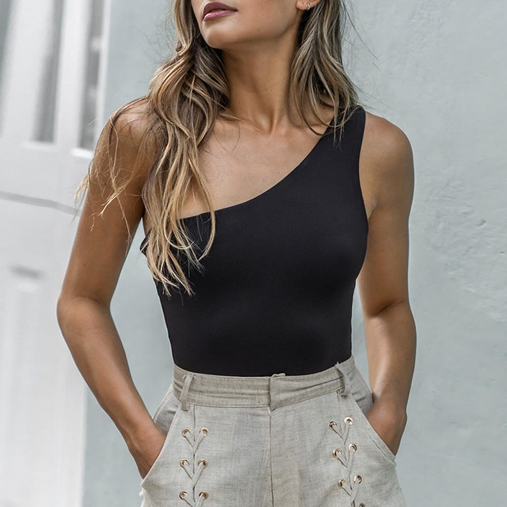 Women Sleeveless Sexy One Shoulder Off Jumpsuit Strappy Body Sculpting Slim Fashion Summer Palysuit Bodysuit Solid Body Mujer