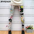 New 2016 Fashion Womens Colorized Graffiti Flower Printing Punk Rock Wihte Leggings Gotico Female Elastic Pencil Pants For Women