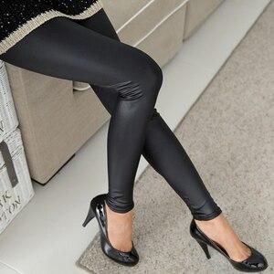 Image 3 - Faux หนังน้ำเงินเซ็กซี่ Leggins ผู้หญิงบางสีดำ Leggings Calzas Mujer Leggins Leggings PLUS ขนาด Leggins Push Up