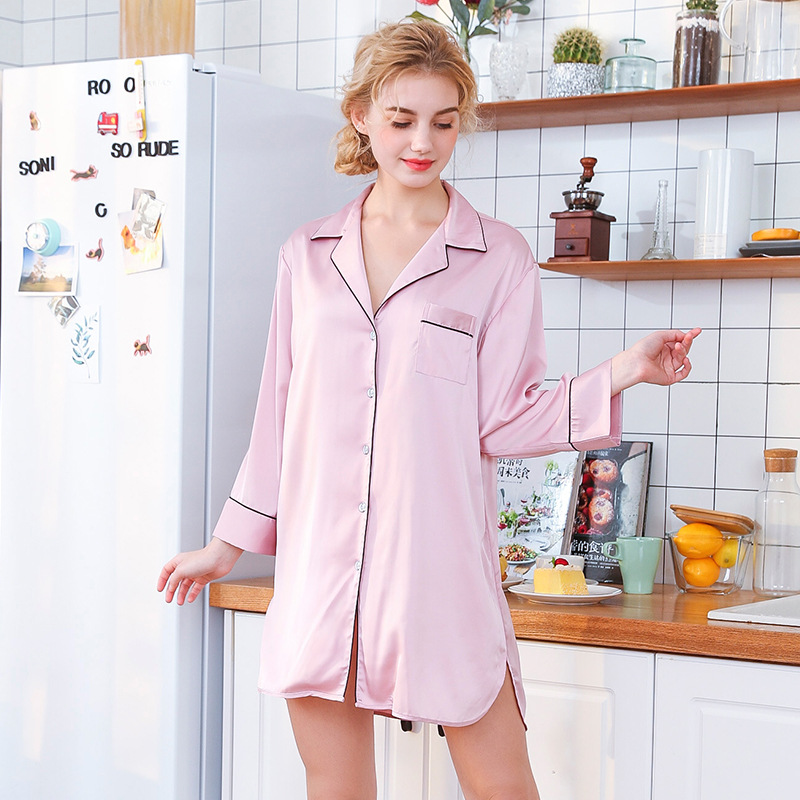Sleep Lounge   Nightgowns   &   Sleepshirt   Women Sleepwear BF Style Nightshirts High Quality Nightwear Sexy Lingerie Night Dress