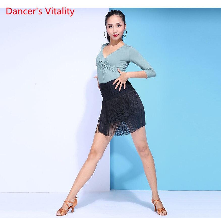 3 couleurs Sexy col en v haut taille haute frangé Latin jupe danse du ventre danse orientale Latin pratique costume 2 pièces haut + jupe