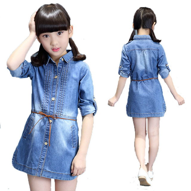 b8940b90dbabb 2018 NEW Kids Girl Clothing Denim Short Jean Dresses Children Long Sleeve  Belt Cute Casual Party Shirt Dress Girls School Wears
