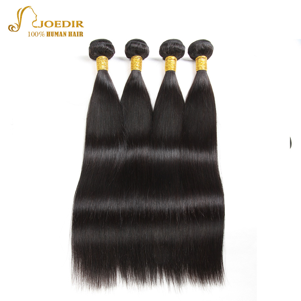 JOEDIR DISCOUNT Hair 8a Pre-colored 4 Bundles Deal Brazilian Straight Hair Bundles 8 To 26 Inch Non Remy Human Hair Extensions