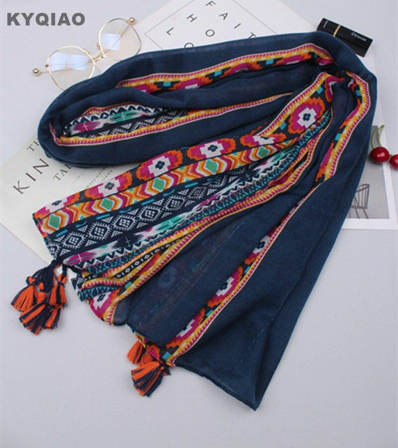 KYQIAO Hippie Scarf 2020 Women Autumn Spring Spain Style Boho Long Pink Dark Blue Embroidery Scarf Head Hijab Scarf Cape