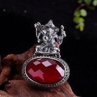 Real Pure 925 Sterling Silver Ganesha Pendant With Ruby Stone For Women Vintage Ethnic Spiritual Hindu Jewelry