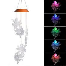Светодиодный, солнечный, меняющий цвет, ангел, кукла в форме колокольчика, украшение для дома и сада, ветряные колокольчики